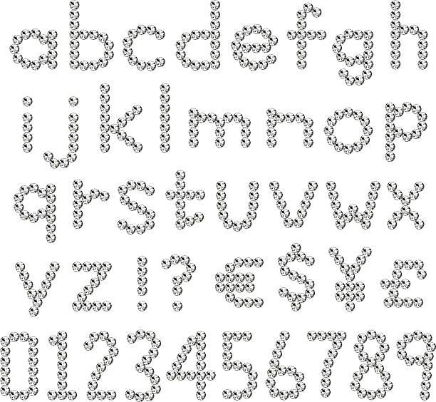 strass-schriften kleine buchstabe - modeschmuck stock-grafiken, -clipart, -cartoons und -symbole