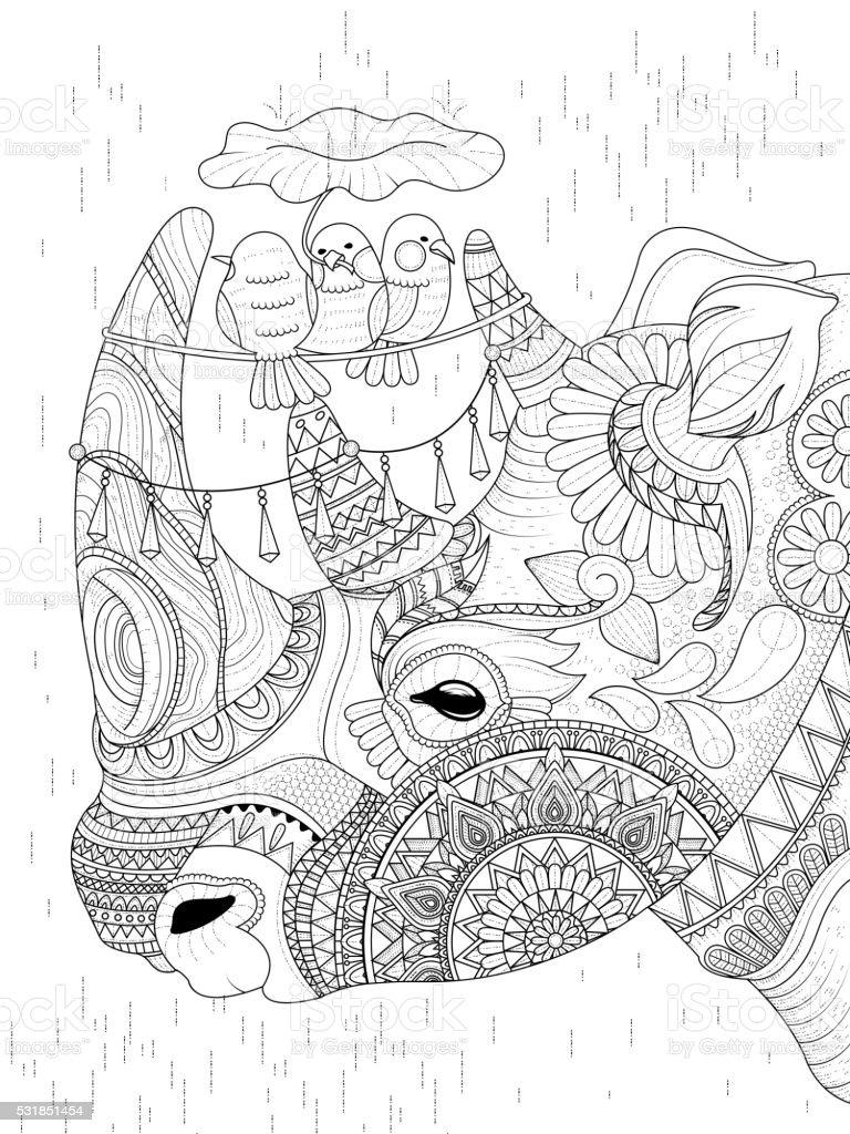 Rhinoраскраска для взрослых стоковая векторная графика и