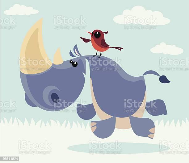 Rhino And Bird-vektorgrafik och fler bilder på Behornad