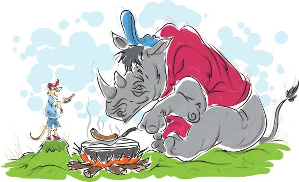 Rhino and Meer Rhino and Meer BBQ meer stock illustrations