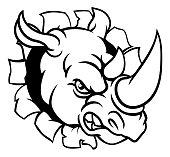 A rhino or rhinoceros mean angry animal sports mascot cartoon head smashing through the background