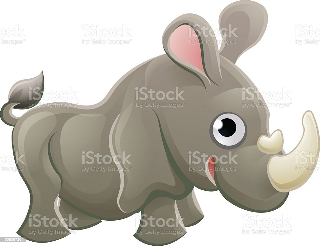 rhino animal cartoon character stock vector art 608597204 istock
