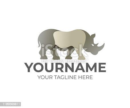 istock Rhino animal design. Beast, mammal and wildlife, vector design and illustration 1189565611