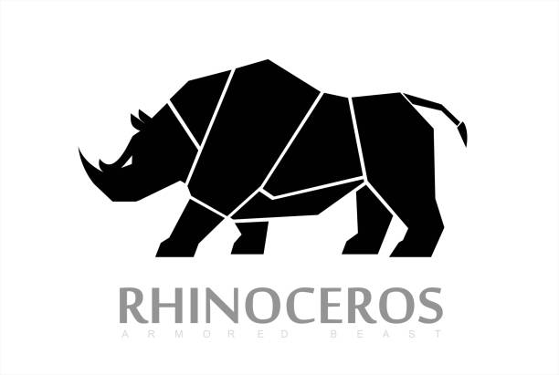 Rhino, Beast, Sideview Full body Rhino. Sideview Full body Rhino rhinoceros stock illustrations