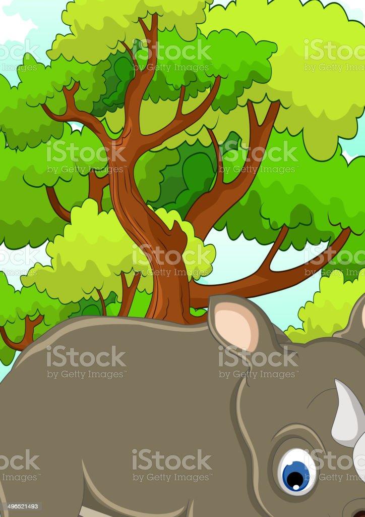 ライノカットイラスト森の背景 のイラスト素材 496521493 | istock