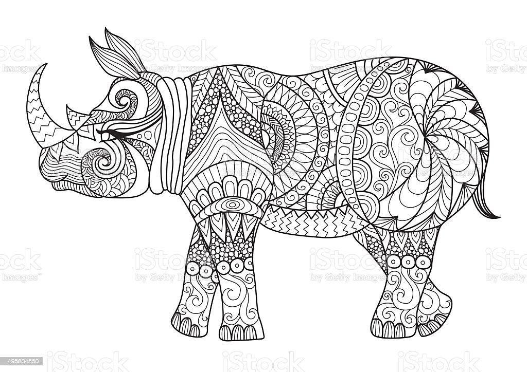Coloriage En Ligne Rhinoceros.Rhino Coloriage Page Vecteurs Libres De Droits Et Plus D