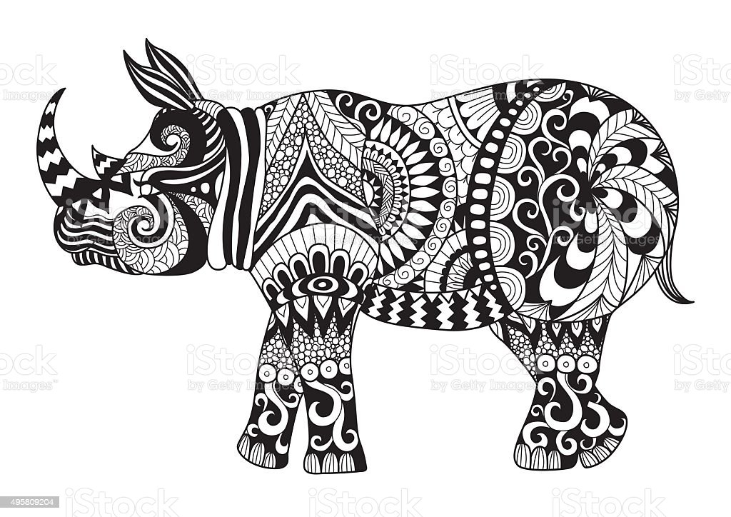 Rhino Coloring Page Stock Vector Art & More Images of 2015 495809204 ...