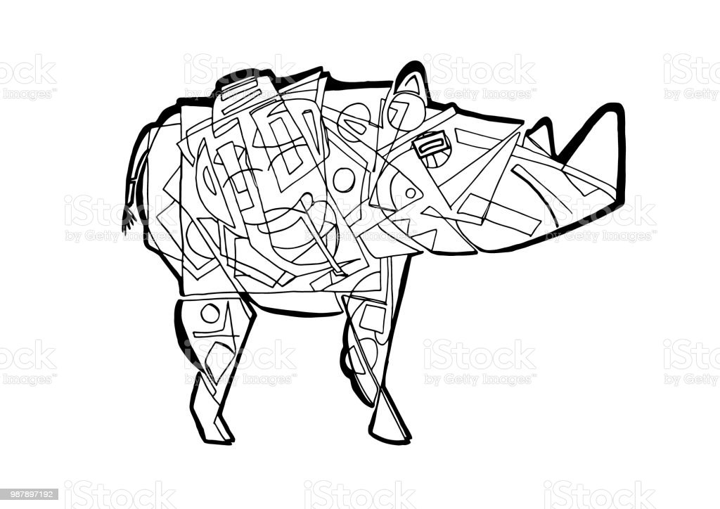 Rhino Coloring Page Stock Vector Art More Images Of Abstract