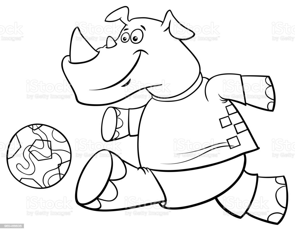 Rhino Football Player Character Coloring Book Stock Vector Art ...