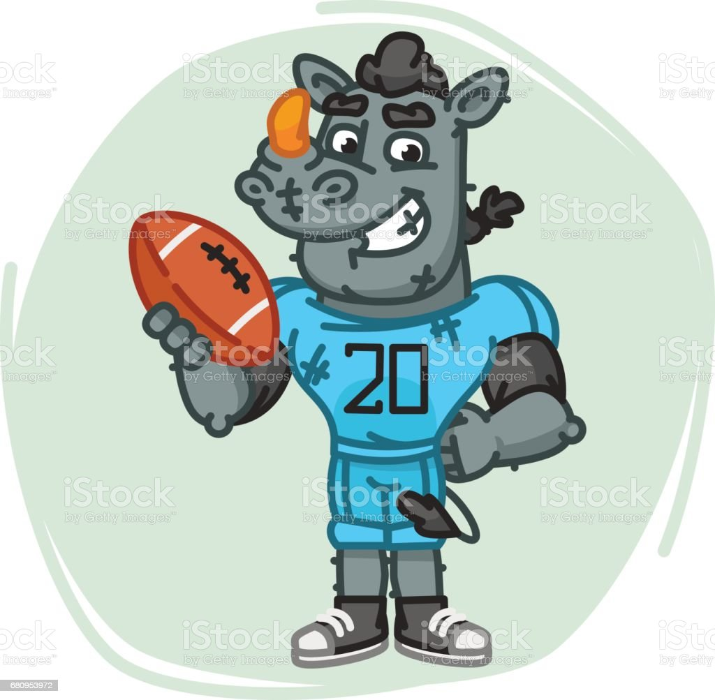 Rhino Football Player Holds Ball royalty-free rhino football player holds ball stock vector art & more images of american football - sport