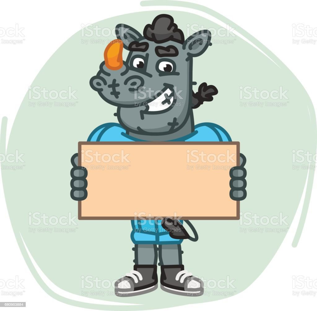 Rhino Football Player Holds Blank Sheet Paper royalty-free rhino football player holds blank sheet paper stock vector art & more images of advertisement