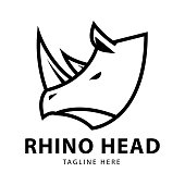 Animal Rhino Logo Vector Design Template. Abstract Black and white linear illustration.