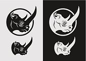 Rhino head mascot (dark and light variants on separate layers).