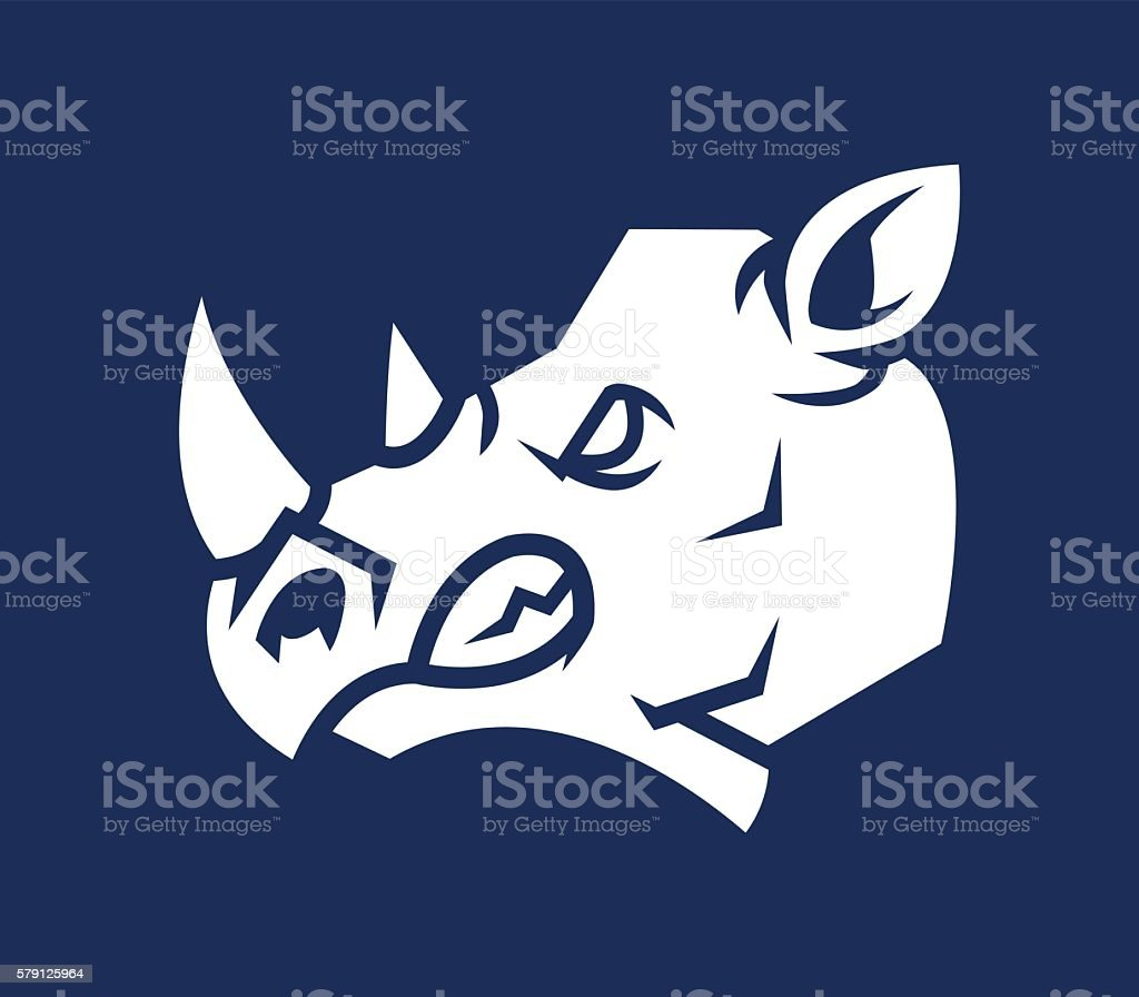 Rhino Head Silhouette vector art illustration