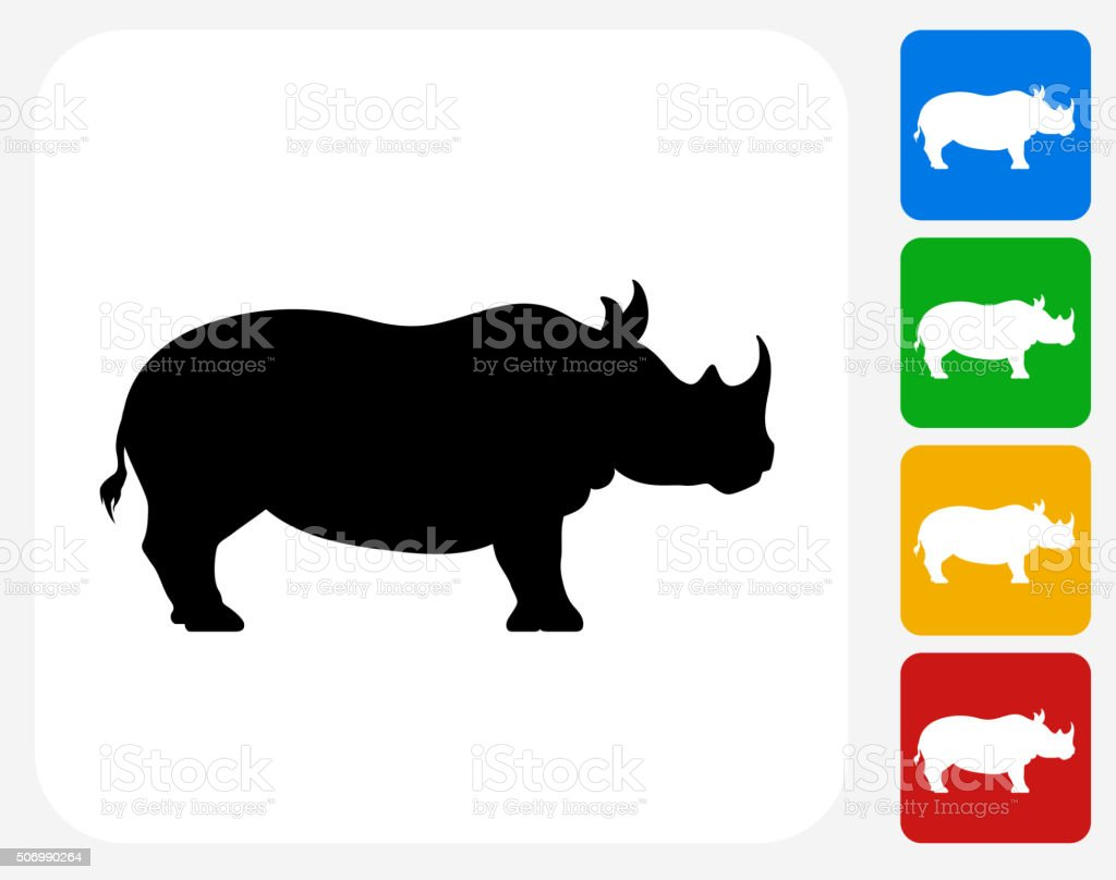 Rhino Icon Flat Graphic Design royalty-free rhino icon flat graphic design stock vector art & more images of animals in the wild