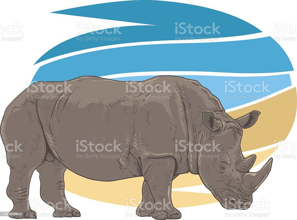 Rhino Illustration vector art illustration