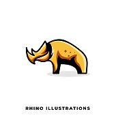 Rhino Illustration Vector Template. Suitable for Creative Industry, Multimedia, entertainment, Educations, Shop, and any related business.