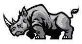 vector of rhino mascot character