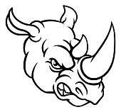 A rhinoceros or rhino angry mean animal sports mascot cartoon head