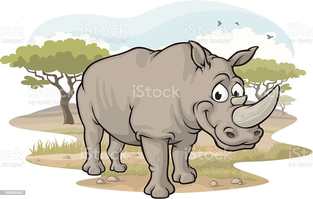 Rhino on the Savannah vector art illustration