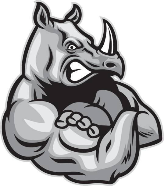 rhino show his big muscle vector art illustration