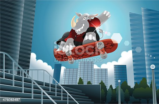 A cartoon illustration of a cool Rhino jumping with is skate board in a Urban Scene.