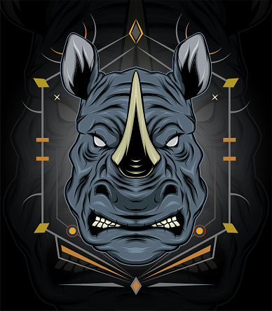rhino symbol design mascot with modern illustration concept style for badge, emblem and t shirt printing. angry rhinos illustration.