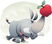 vector illustration of rhinochasing an apple which is hooked on his horn.