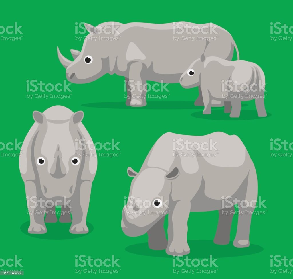Rhinoceros Cartoon Vector Illustration vector art illustration