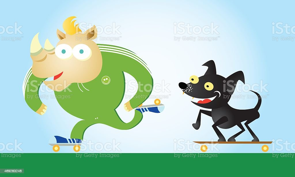 Rhinoceros & dog skating vector art illustration