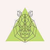 Rhinoceros head geometric lines silhouette. Vector design element.