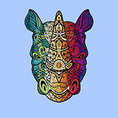 istock Rhinoceros head in detailed style. Zentangle Rhino. Vector pattern for tribal design. Geometric Ethnic motif with rhombus, triangles. Graphic style. Rhino for print, web, textile, wrapping paper. 1289917217