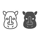Rhinoceros head line and solid icon. Cute wild animal face looking at you. Animals vector design concept, outline style pictogram on white background, use for web and app. Eps 10