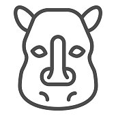 Rhinoceros head line icon. Cute wild animal face looking at you. Animals vector design concept, outline style pictogram on white background, use for web and app. Eps 10