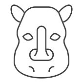 Rhinoceros head thin line icon. Cute wild animal face looking at you. Animals vector design concept, outline style pictogram on white background, use for web and app. Eps 10