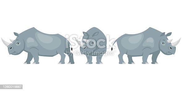 Rhinoceros in different poses. African animal in cartoon style.