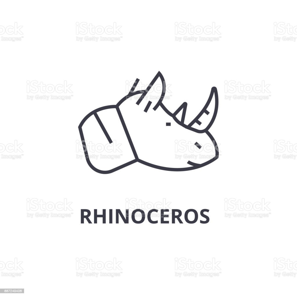 rhinoceros line icon, outline sign, linear symbol, vector, flat illustration vector art illustration