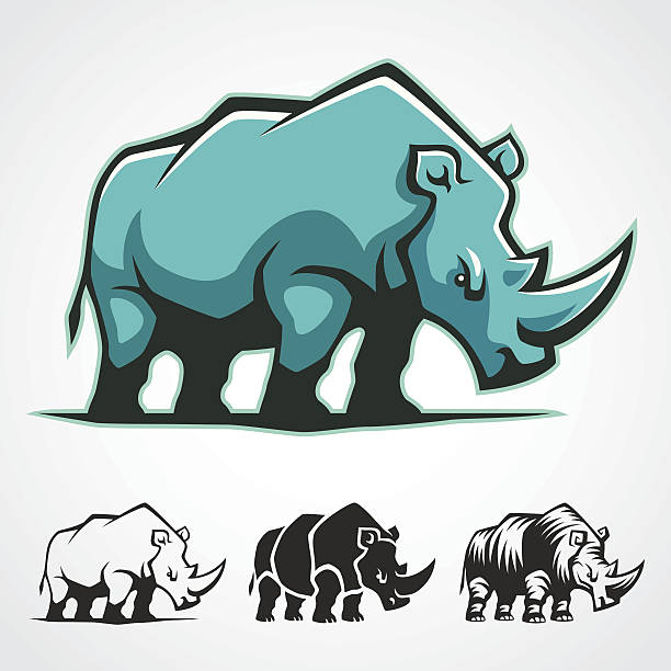Rhinoceros Symbol. Rhinoceros vector cartoon symbol. rhinoceros stock illustrations