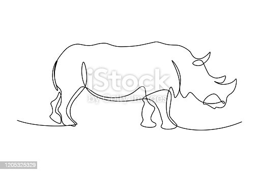 Rhinoceros in continuous line art drawing style. Minimalist black linear sketch isolated on white background. Vector illustration