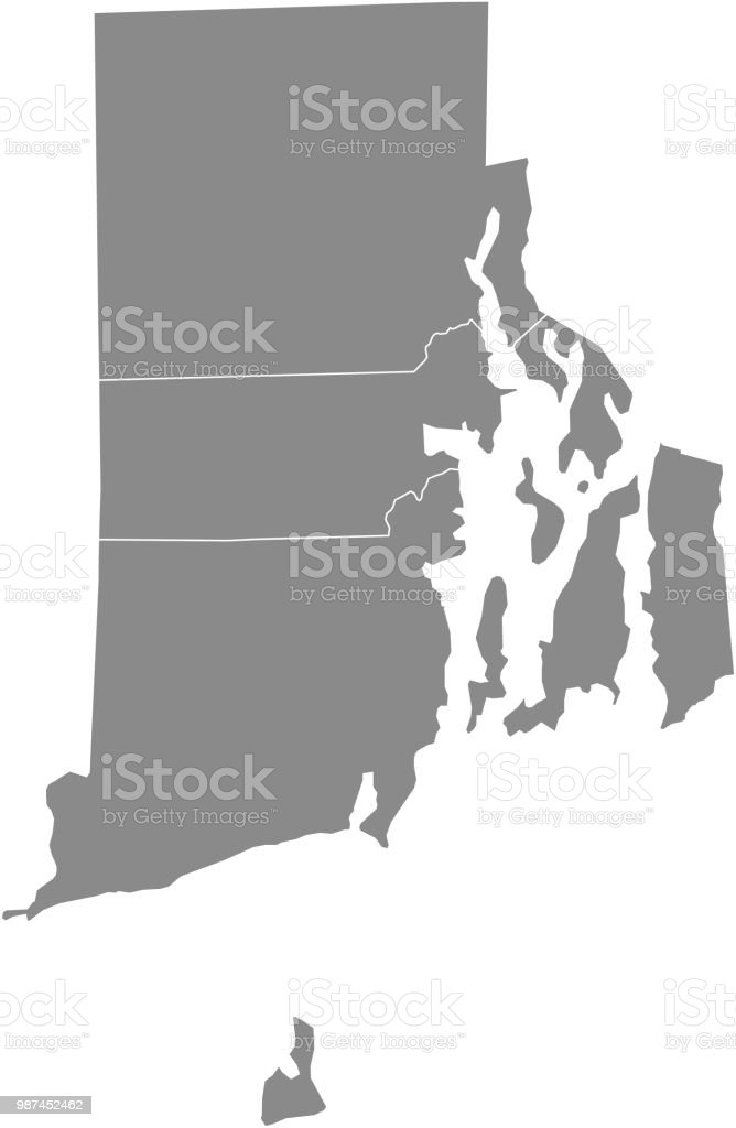 Rhode Island County Map Vector Outline Gray Background Map ...