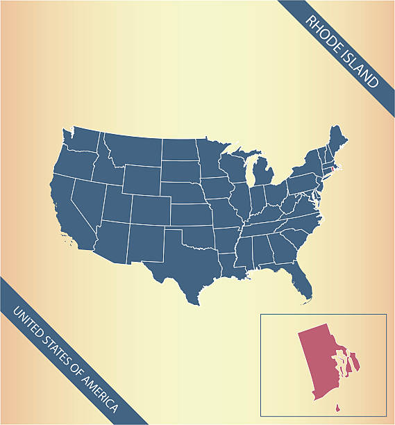 Rhode Island Map Vector Outline Illustration Highlighted In Usa Map ...