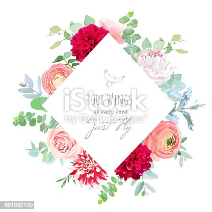 Rhombus Floral Label Frame Of White Pink And Red Flowers Stock ...