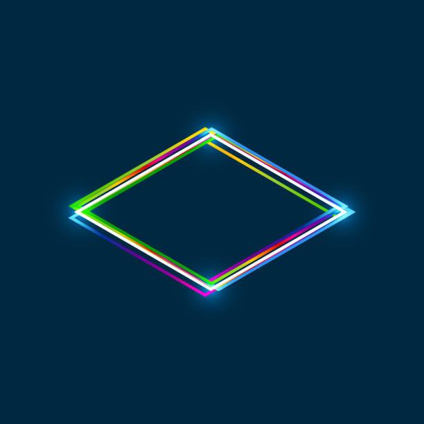 illustrazioni stock, clip art, cartoni animati e icone di tendenza di rhombus frame with colorful multi-layered outline and glowing light effect on blue background - rombo
