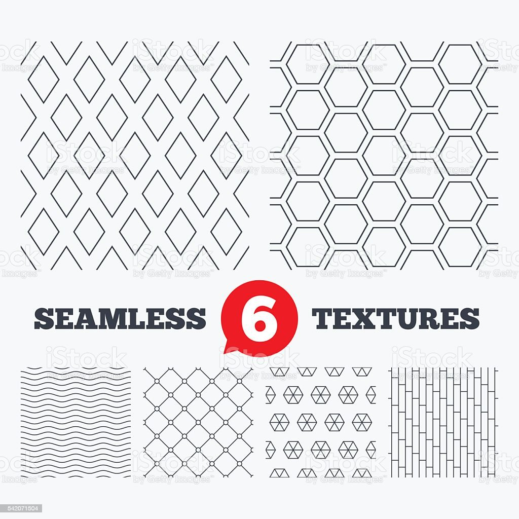 Rhombus, hexagon and grid with circles textures. vector art illustration