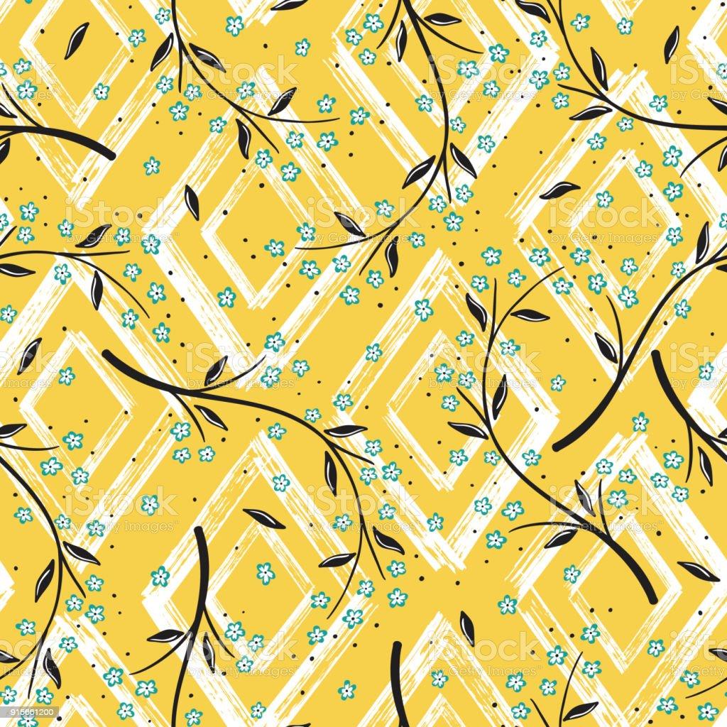 Rhombus Boya Fırça Darbeleri Ile çiçek Seamless Modeli Vektör Soyut