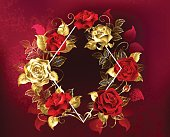 White contour rhombus with gold and red jewelry on a red textured background. Design with red roses.