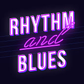 Rhythm and blues vintage 3d vector lettering. Retro bold font, typeface. Pop art stylized text. Old school style neon light letters. 90s, 80s poster, banner. Dark violet color background