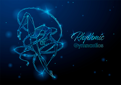 Rhythmic gymnastics. A gymnast with a ribbon. Futuristic neon glowing illustration. Vector