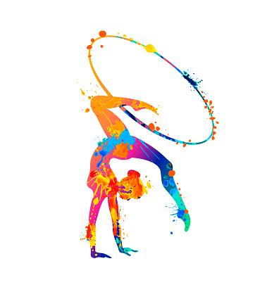 Rhythmic gymnastics girl with hoop. Dancer silhouette