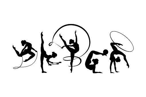 Rhythmic gymnastics girls silhouettes black on white